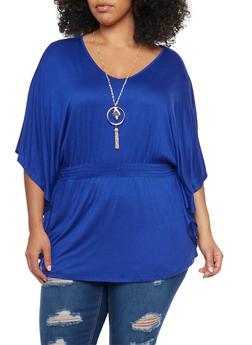Plus Size Smocked Waist Top with Pendant Necklace - 1912058756444