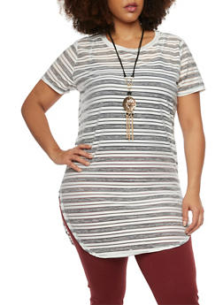 Plus Size Striped Tunic Top with Necklace - 1912058756448