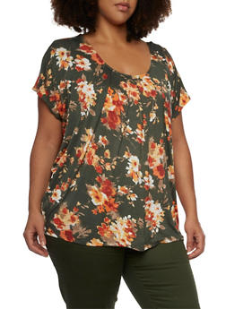 Plus Size Floral Top with Chain Back - 1912058756451