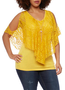 Plus Size Cold Shoulder Flutter Top with Necklace - MUSTARD - 1912058756452