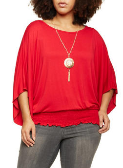 Plus Size Dolman Sleeve Top with Necklace - 1912058756453