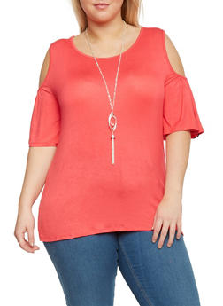Plus Size Cold Shoulder Short Bell Sleeve Top with Necklace - 1912058756526