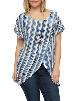 Plus Size Tulip Top in Stripes with Removable Necklace - 1912058756589