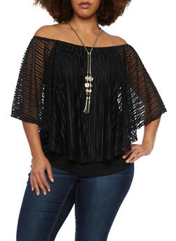 Plus Size Off the Shoulder Top with Overlay and Necklace - 1912058756594