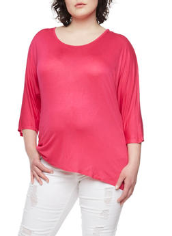 Plus Size Solid 3/4 Sleeve Top with Beaded Back - 1912058756596