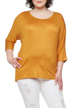 Plus Size Solid 3/4 Sleeve Top with Beaded Back - MUSTARD - 1912058756596
