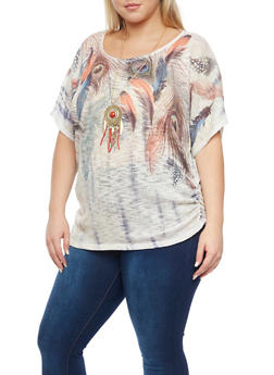 Plus Size Feather Print Top with Necklace - 1912058756605