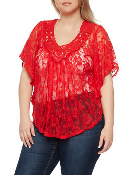 Plus Size Lace Circle Top with Crochet Neck - 1912058756619