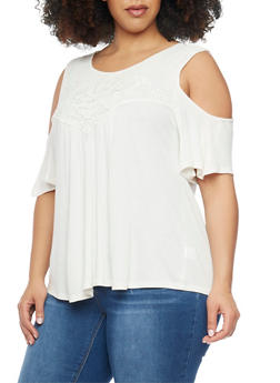 Plus Size Crochet Trimmed Cold Shoulder Top - 1912058756645