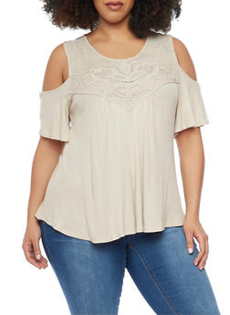 Plus Size Crochet Trimmed Cold Shoulder Top - 1912058756645