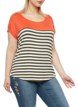 Plus Size Solid Yoke Buttons Striped Top - 1912058756647