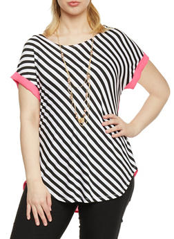 Plus Size Striped Contrast Trim Top with Necklace - 1912058756774