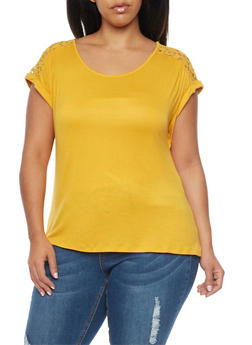 Plus Size Top with Crochet Back Panel - MUSTARD - 1912058756797