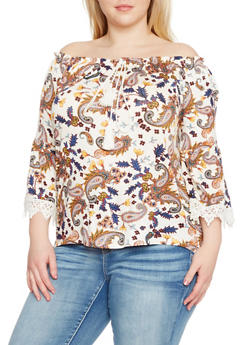 Plus Size Off the Shoulder Paisley Top with Crochet Trim - 1912058756814