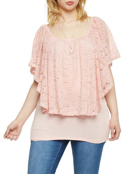 Plus Size Crochet Lace Overlay Top with Necklace - BLUSH - 1912058756818