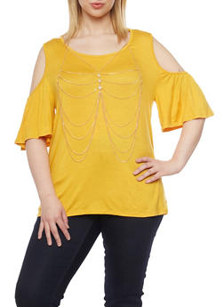 Plus Size Cold Shoulder Bell Sleeve Top with Necklace - 1912058756880