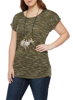 Plus Size Marled T Shirt with Feather Necklace - 1912058757001