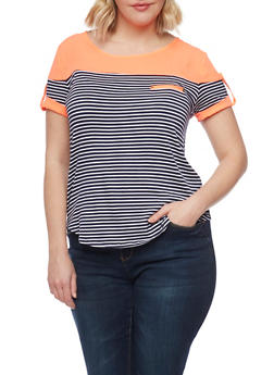Plus Size Striped Top with Contrast Yoke - 1912058757030