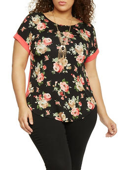 Plus Size Short Sleeve Floral Top with Sheer Back and Necklace - 1912058757065