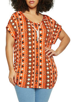Plus Size Ruched Tribal Printed Top with Necklace - 1912058757066
