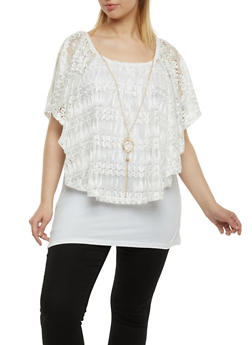 Plus Size Lace Overlay Top with Necklace - 1912058757067
