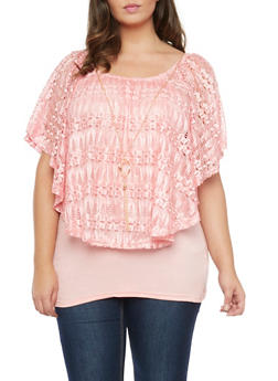 Plus Size Lace Overlay Top with Necklace - BLUSH - 1912058757067