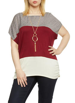 Plus Size Striped Yoke Color Block Top with Necklace - 1912058757137