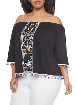 Plus Size Off The Shoulder Peasant Top with Pom Pom Trim - 1912058757309