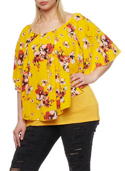 Plus Size Floral Layered Off the Shoulder Top with Necklace - 1912058757350