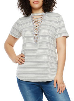 Plus Size Striped Lace Up Top - 1912058757508