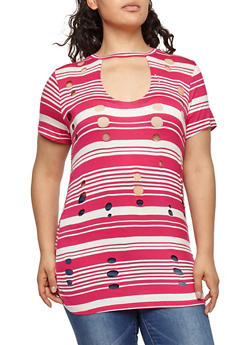 Plus Size Striped Laser Cut Tunic Top - 1912058757511