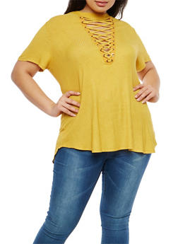 Plus Size Rib Knit Lace Up Keyhole Top - 1912058757557