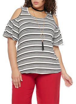 Plus Size Striped Cold Shoulder Top with Necklace - 1912058757928