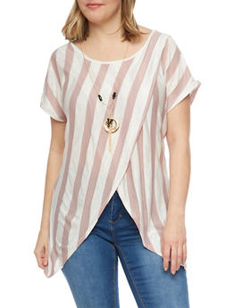 Plus Size Asymmetrical Striped Top with Necklace - 1912058757962