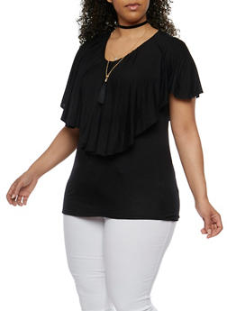 Plus Size Ruffled Overlay Top with Necklace - 1912058758001