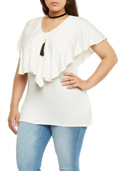 Plus Size Ruffled Overlay Top with Necklace - IVORY - 1912058758001