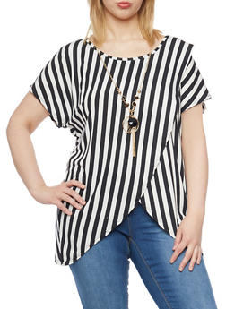 Plus Size Striped Short Sleeve Top with Necklace - 1912058758010