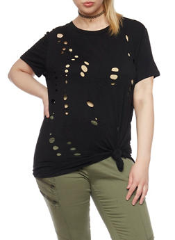 Plus Size Knotted Laser Cut T Shirt - 1912058758024