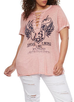 Plus Size Oversized Graphic Lace Up T Shirt - MAUVE - 1912058758049