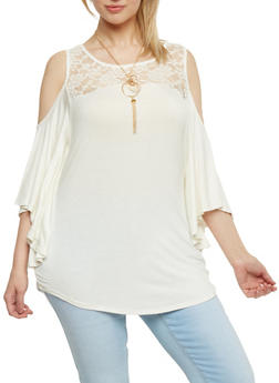 Plus Size Lace Yoke Cold Shoulder Top with Necklace - WHITE - 1912058758098