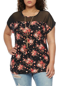 Plus Size Floral Mesh Yoke Top with Necklace - 1912058758138