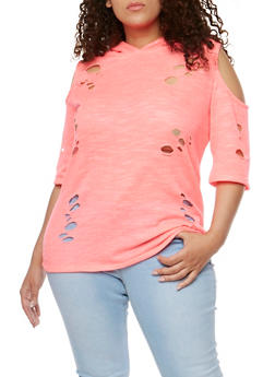 Plus Size Lasercut Cold Shoulder Hoodie - 1912058758171