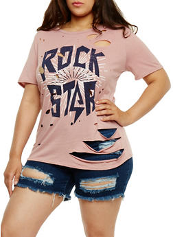 Plus Size Ripped Rockstar Graphic Top - 1912058758172