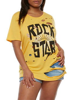 Plus Size Ripped Rockstar Graphic Top - MUSTARD - 1912058758172