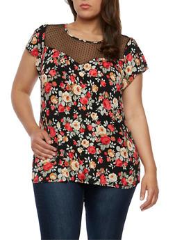 Plus Size Floral T Shirt with Mesh Yoke - 1912058758177