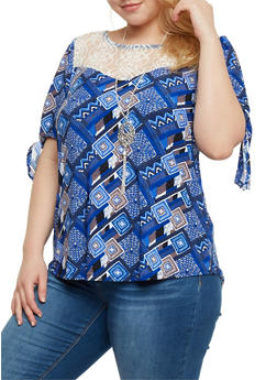 Plus Size Lace Yoke Printed Top with Necklace - 1912058758180