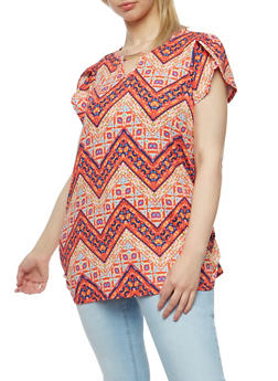 Plus Size Chevron Top with Metal Keyhole Bar - 1912058758182