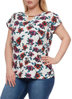 Plus Size Floral Top with Metal Keyhole Bar - 1912058758183