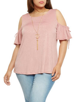 Plus Size Cold Shoulder Top with Necklace - 1912058758220