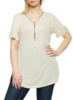 Plus Size Zip Front Rib Knit Tunic Top - IVORY - 1912058758350
